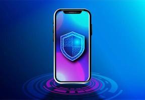design isométrico de segurança de dados móveis