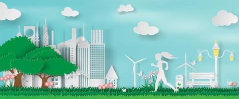 Paper Art and Craft of Green Parks with Woman Running vector