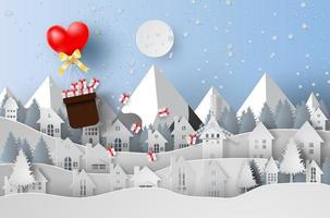 Paper Art Merry Christmas with Balloon Gift Float Above Town vector