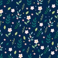 patrón floral con hojas vector