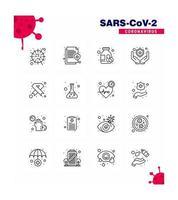 conjunto de iconos de pictograma de línea de coronavirus