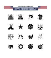 USA Independence Day silhouette icon set