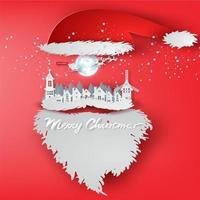 Paper Art Merry Christmas Day with Santa Claus Hat Concept vector