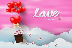 Paper Art Valentine's Day with Balloon Red Heart and Pink Sky