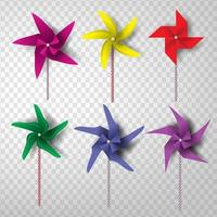 Paper Art Colorful Pinwheel Set with Transparency Background vector