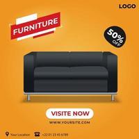 publicación social de venta de muebles naranja vector