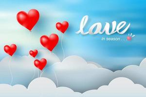 Paper Art Valentine's Day with Balloon Red Heart and Clouds