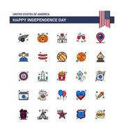 USA Independence Day color icon set