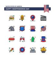 USA Independence Day color icon set vector