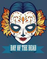 Day of the dead poster with face vector