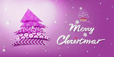 Paper Art Merry Christmas with Decorate Tree