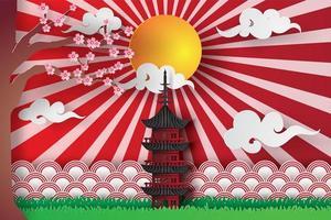 Primavera de arte de papel en templo asiático con árbol de sakura y sol vector