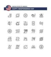 USA Independence Day line icon set vector