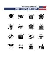 USA Independence Day silhouette icon set vector