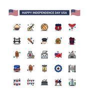 jeu d'icônes de couleur pour le jour de l'indépendance des États-Unis vecteur