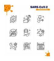 Coronavirus line pictogram icon set vector