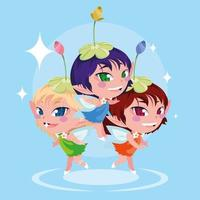 Cute fairies character graphic icon