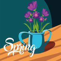 Spring card with beautiful flowers in pot vector