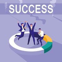 Successful businessmen celebrating with statistics pie