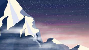Snowy mountain background design vector