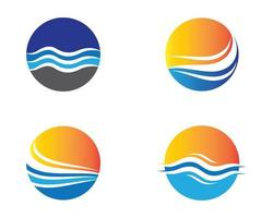 Set of circular water wave logos vector