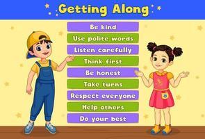 ''Getting Along'' Board Showing Two Kids
