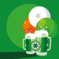 St Patrick's day with beers in jar  vector