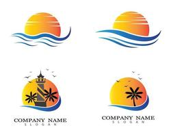 Sunset and lighthouse logo set vector