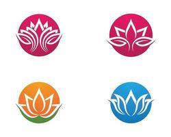 Flower lotus outline logo design set