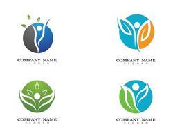 ensemble de logo feuille vie saine vecteur
