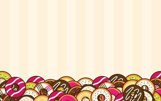 Cartoon donuts along bottom of striped background vector