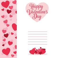 Happy Valentines Day card template with hearts