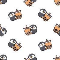 lindo, pingüino, tenencia, burbuja, té, seamless, patrón vector