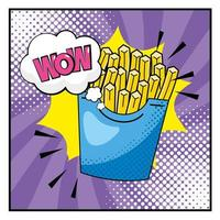 Pop-art french fries and onomatopoeia