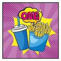 Pop-art french fries and soda cup vector