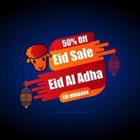 cartel de oferta del festival eid con cordero vector