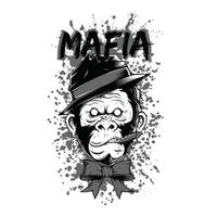 Mafia Chimpanzee Black and White T-Shirt Design