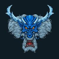 Blue Dragon Head Angry Face