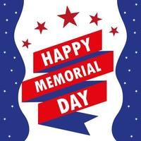 Happy memorial day card with ribbon and stars vector