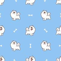Cute samoyed dog cartoon seamless pattern vector
