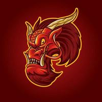 Red Dragon Head With Arrogant Face