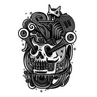 Kings Skull Black and White T-Shirt Design