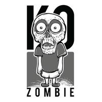 Zombie Black and White T-Shirt Design vector