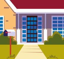 House building facade with landscape vector