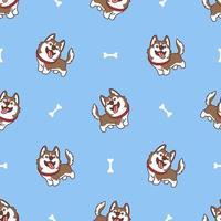 lindo, marrón, husky siberiano, perro, caricatura, seamless, patrón