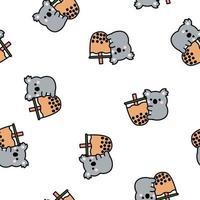 lindo, koala, tenencia, burbuja, té, caricatura, seamless, patrón