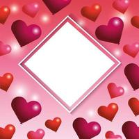 Diamond blank frame with hearts for Valentines day