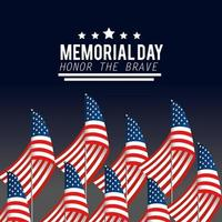 Memorial day celebration design with USA flags vector