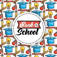 Back to school pattern background with round sticker