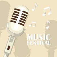Retro microphone music festival vector